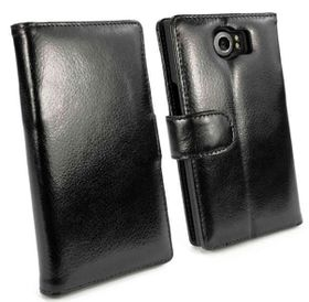 Tuff-Luv Vintage Genuine Leather Wallet Case Cover For Blackberry Priv - Black