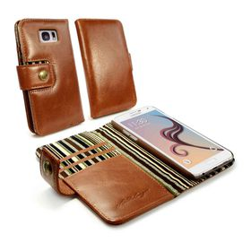 Tuff-Luv Alston Craig Vintage Genuine Leather RFID Wallet Case/Cover the Samsung Galaxy S7 - Brown
