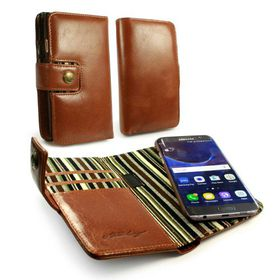 Tuff-Luv Alston Craig GenuineLeather Magnetic Wallet Case and Cover for the Samsung Galaxy S7 Edge - Brown