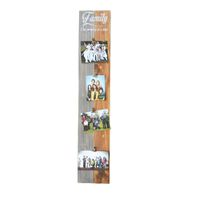 "Prettish Photo Clip Board - ""Family - One memory at a time"" - Grey & Stain"