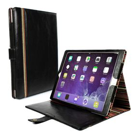 Tuff-Luv Alston Craig Vintage Genuine Leather Slim-Stand Case Cover for Apple iPad Pro 9.7 / iPad Air 2 - Black (includes: Sleep Function)