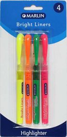 Marlin Bright Liners Pen Type Highlighters - Blister of 4