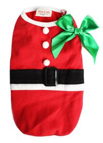 Dog's Life - Christmas Range Santa Tee With Bow In Red - Small