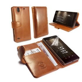 Tuff-Luv Vintage Leather Wallet / Stand Case Cover for Sony Xperia C4 - Brown