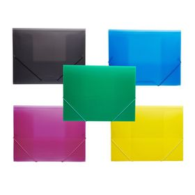 Meeco Foolscap PVC Elastic Carry Folder - Pack of 5 Assorted Colours