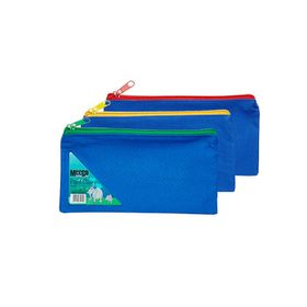 Meeco 16cm Nylon Pencil Bag - Blue with Assorted Colour Zip