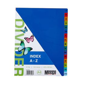Meeco A4 16 Tab (A-Z) Bright Multi Colour Dividers
