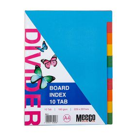 Meeco A4 10 Tab Bright Multi Colour Board Dividers