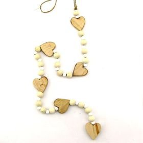 Pamper Hamper String Of Natural Wooden Hearts and Beads Decoration
