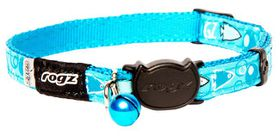 Rogz Fancy Cat Safeloc Breakaway Collar - Turquoise Bubble Fish Design