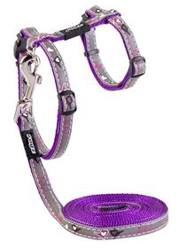 Rogz Night Cat Reflective Cat Lead & H-Harness Combination - Purple Budgies Design