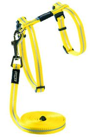Rogz - Alley Cat Reflective Breakaway Safeloc Buckle H-Harness & Lead Combination - Dayglo Yellow