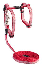 Rogz - Sparkle Cat H-Harness & Lead Combination - Red
