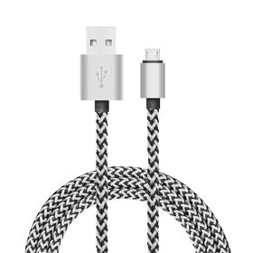 Tuff-Luv USB Type C to USB 2.0 - Data/Charge Cable 1.2 Meter (Woven Style with Metal Head) - Silver