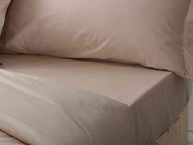 Chic Linen - Luxurious Fitted Sheet Natural - Size: Three Quarter