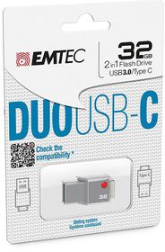 Emtec T400 USB-C (DUO) USB 3.0 Flash Drive - 32GB