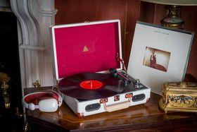 Jivo Elyxr Revolution Vinyl Player - Grey & Burgundy