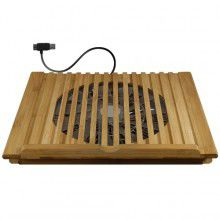 Macally Bamboo Laptop Stand with Cooling Fan via USB - Brown