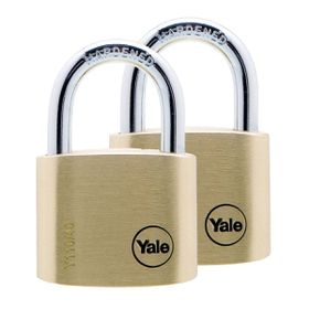 Yale - 40mm Brass Padlock - 2 Pack Keyed Alike