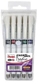 Pentel Energel Tradio 0.7mm Gel Roller Ball Pens - Wallet of 5