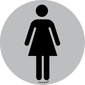 Tower Aluminium Anodised Round Standard Sign - Ladies Toilet