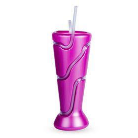 Lumoss - Tumbler With Wrap Around Straw - Metallic Purple