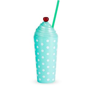 Lumo - Sundae Tumbler PP Pastel Mint with Swirl Cap, Cherry & Straw with Polka Dot Print