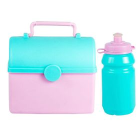 Lumoss - Treasure Chest Lunch Box With 300ml Bottle - Baby Pink and Mint