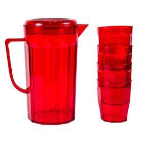 Lumoss - Plastic Jug With 4 Tumblers - Red