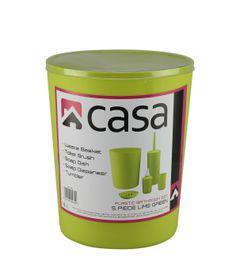 Casa - 5 Piece Plastic Bathroom Set - Lime Green