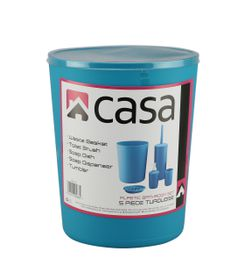 Casa - 5 Piece Plastic Bathroom Set - Turquoise