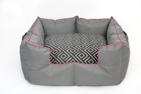 Wagworld - Extra-Large K9 Castle Dog Bed - Geo Grey & Pink