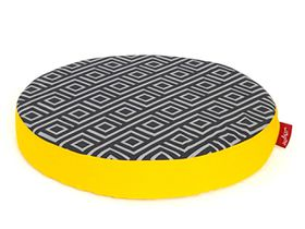 Wagworld - Lazy Lounger Round - Geo Charcoal & Yellow