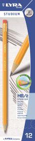 Lyra Studium HB Graphite Pencils with Eraser Tip - Box of 12