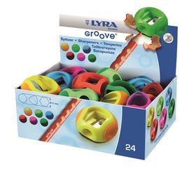 Lyra Groove One-Hole Plastic Sharpeners - Display Box of 24