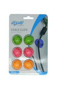 SCOOP Double Hole Cable Clips 6 Pack 2x Green 2x Pink 2x Orange