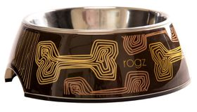 Rogz - 160ml 2-in-1 Bubble Dog Bowl - Mocha Bone Design