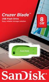 SanDisk Cruzer Blade 8GB USB Flash Drive - Electric Green