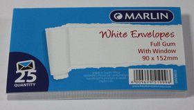 Marlin White Full Gum Window Envelopes - 25