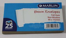 Marlin Brown Full Gum Non Window Envelopes - 25