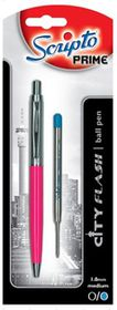 "Scripto Prime ""City Flash"" Pink Barrel Ballpoint Pen"