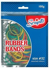 Scripto #32 Assorted Colours Rubber Bands - 100g