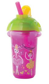 Munchkin - Click Lock Decorated Flip Straw Cup - Pink & Green