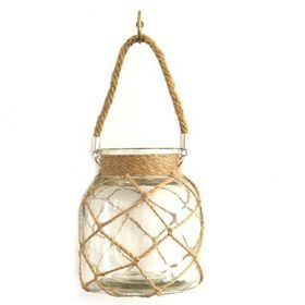 Pamper Hamper - Glass Jar With Rope Netting - White