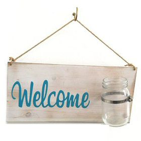 Pamper Hamper - Welcome Board With Glass Jar - White