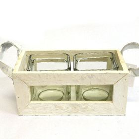 Pamper Hamper - Square Candle Holder Double - White