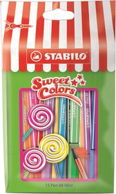Stabilo Pen 68 1.0mm Mini Sweet Colors Fibre Tip Pens (Pouch of 15)
