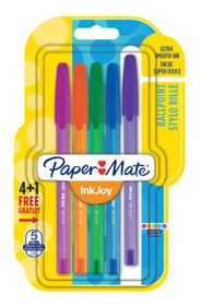 Paper Mate Inkjoy 100 Capped Ballpoint Pens - Assorted Fun (Carded 4+1)