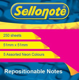 Sello-Note 250 Sheet Neon Repositionable Notes - 51 x 51mm