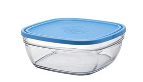 Duralex - Lys Square Stack Bowl With Blue Lid